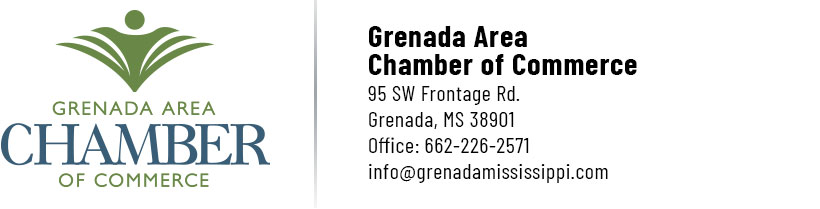 Grenada Area Chamber of Commerce | 95 SW Frontage Rd., Grenada, MS 38901 | Office: 662-226-2571 info@grenadamississippi.com