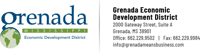 Grenada Economic Development District 2000 Gateway Street, Suite A, Grenada, MS 38901 | Office: 662.229.9502 | Fax: 662.229.9984 | info@grenadameansbusiness.com
